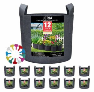 JERIA 12 Pack 2 Gallon Nursery pots | Aeration Fabric Planter Pots with Handles for Plants, Flower, Vegetable