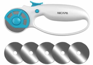 NICAPA 45mm Ergonomic Rotary Cutter for Fabric With Replacement Blades