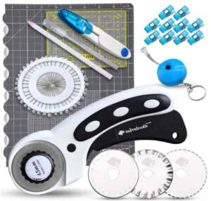 SABRETOOTH Quilting Rotary Cutter for Sewing with Blades, Cutting Mat, Ruler